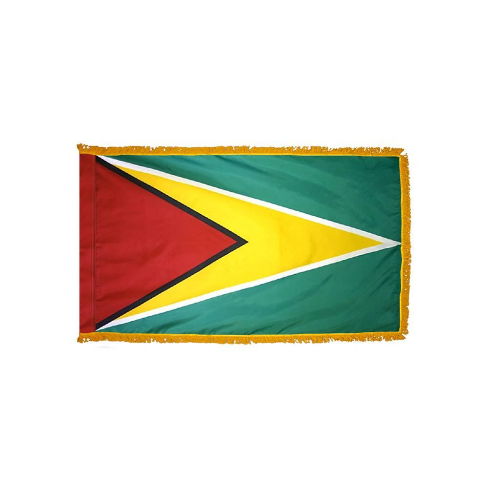 Guyana Flag with Polesleeve & Fringe