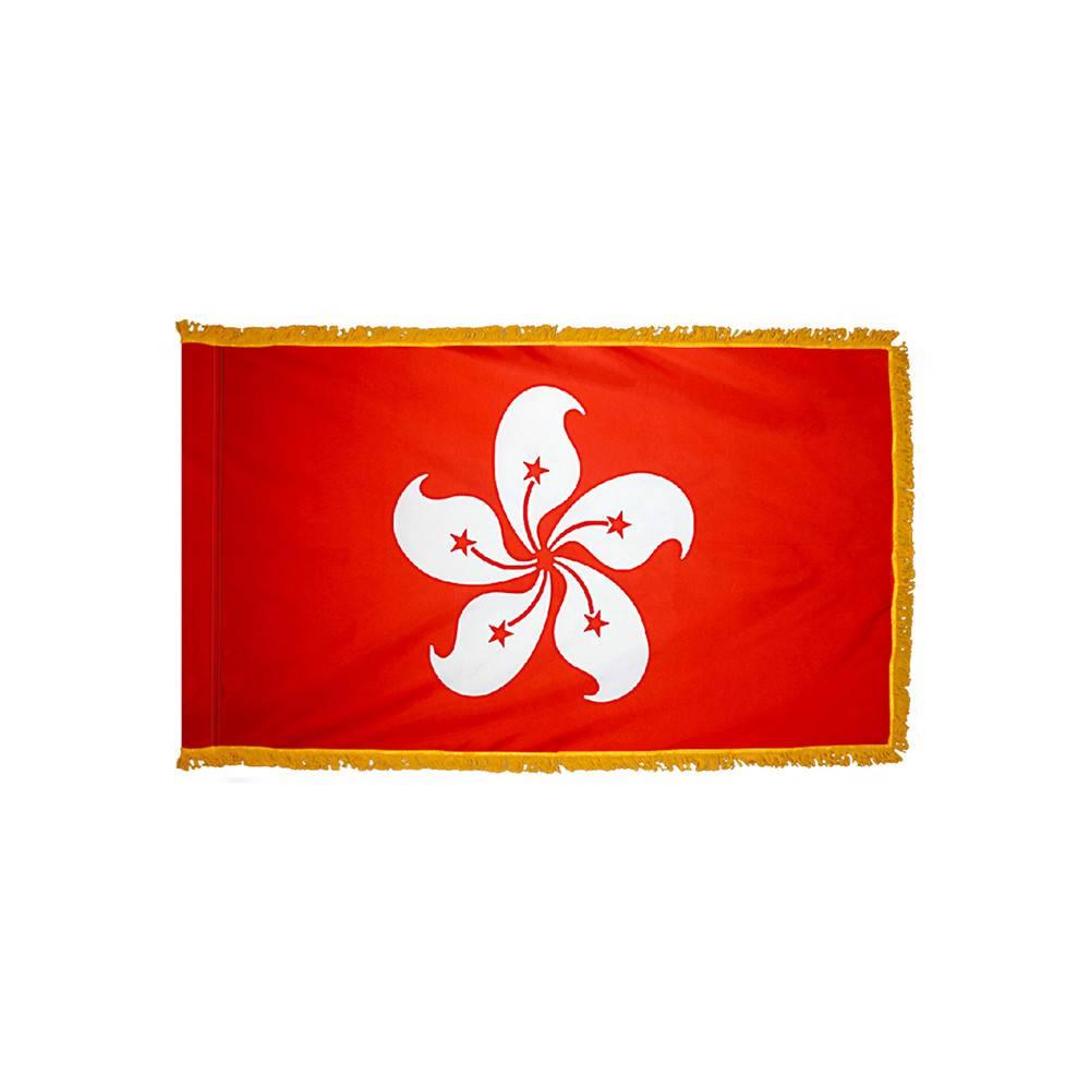 Hong Kong Flag with Polesleeve & Fringe
