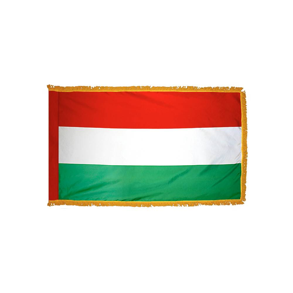 Hungary Flag with Polesleeve & Fringe