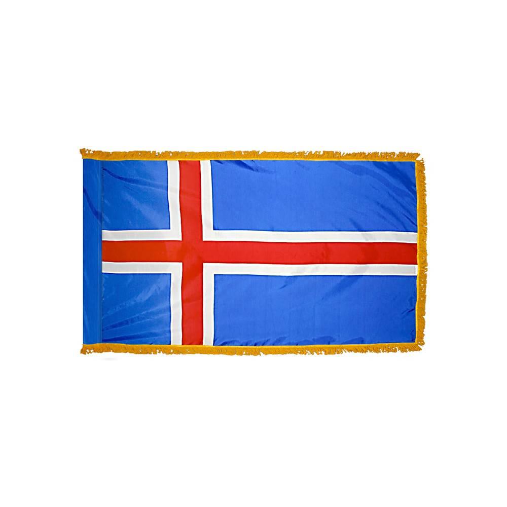 Iceland Flag with Polesleeve & Fringe