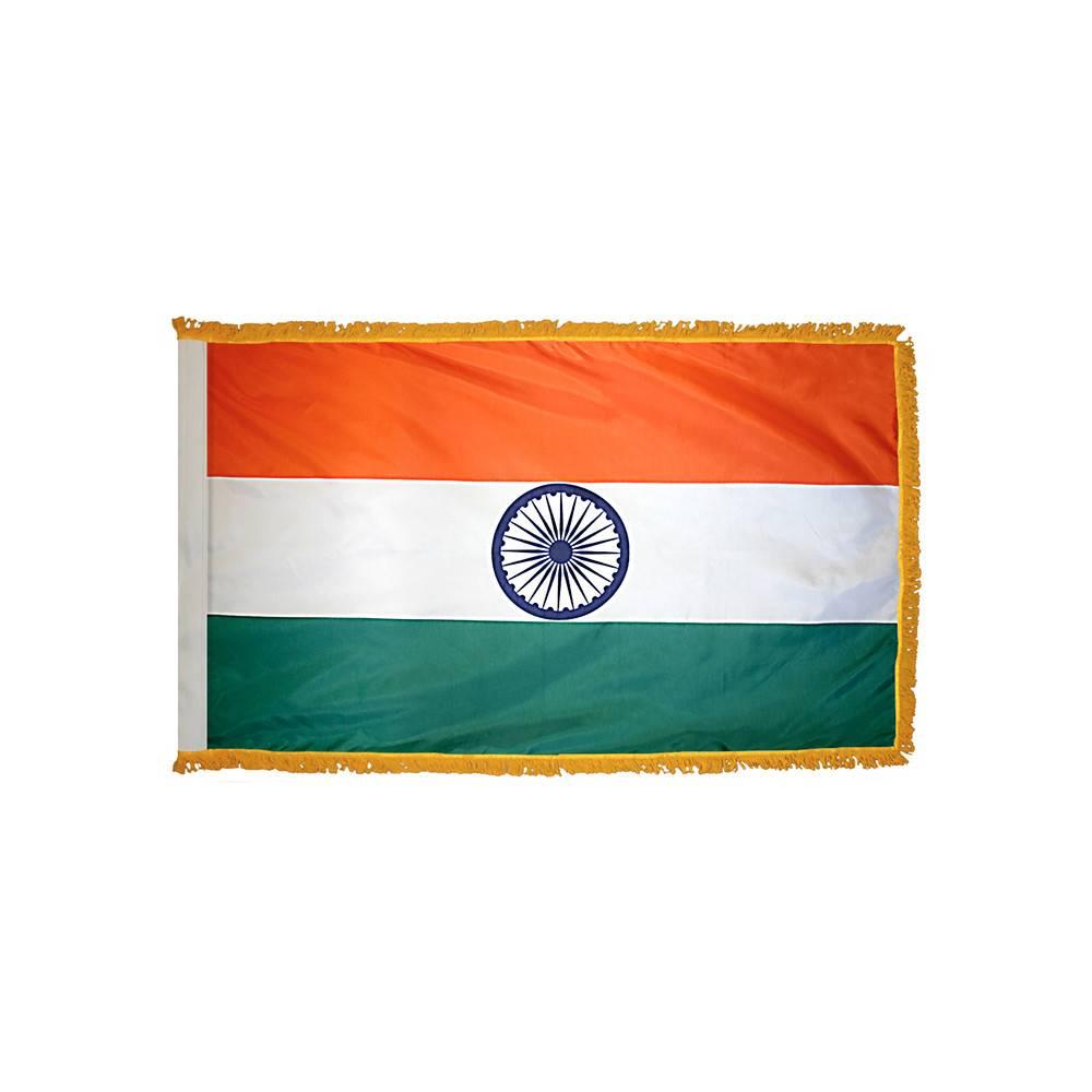 India Flag with Polesleeve & Fringe