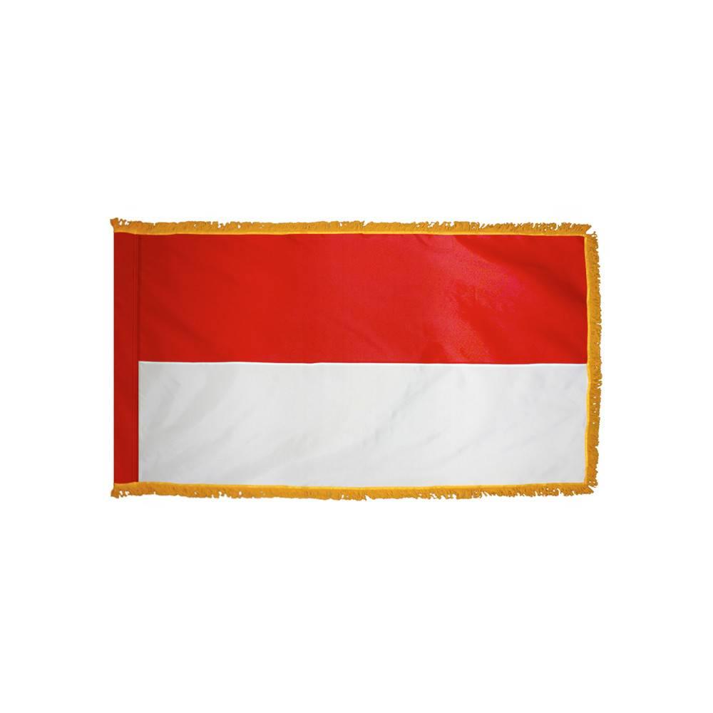 Indonesia Flag with Polesleeve & Fringe