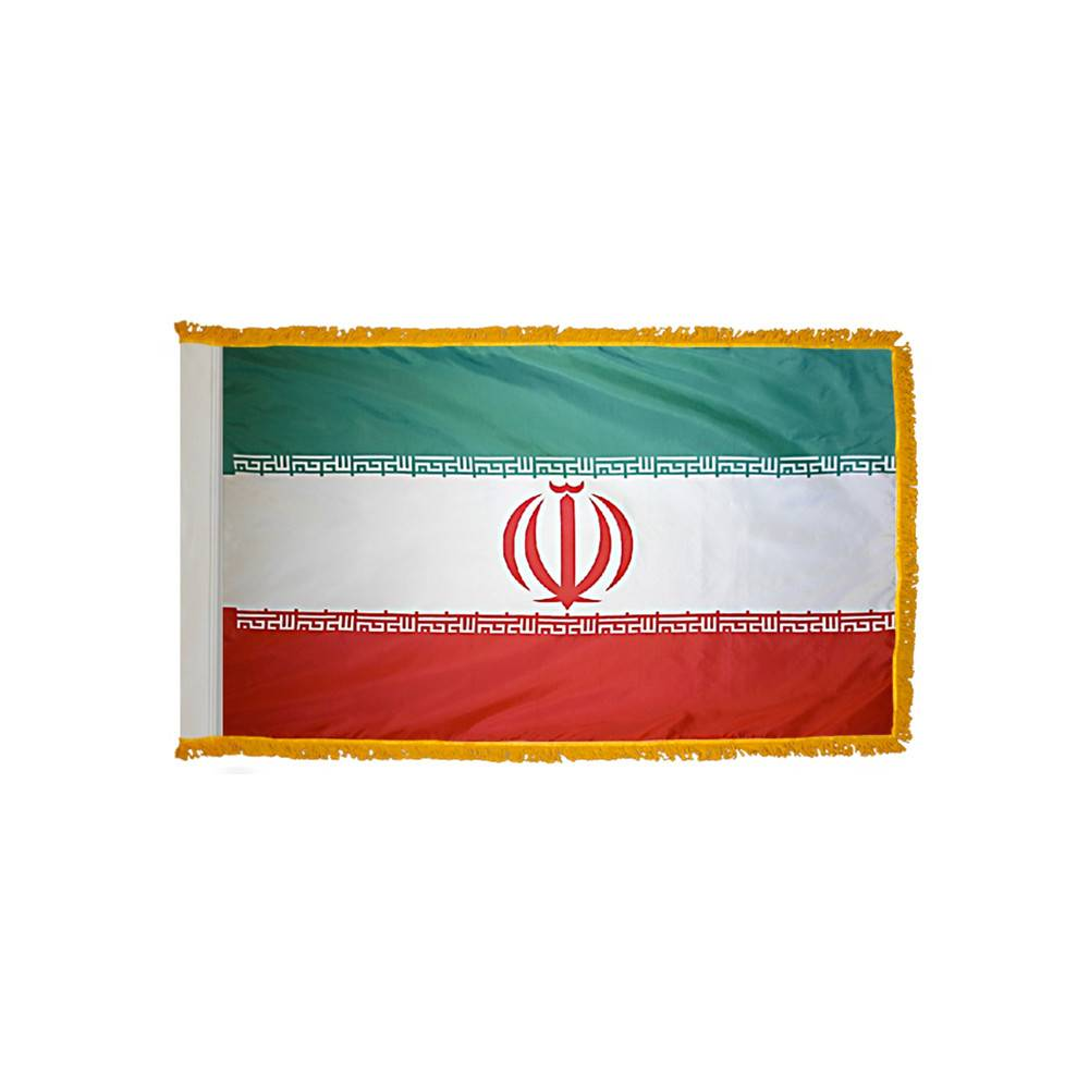 Iran Flag with Polesleeve & Fringe