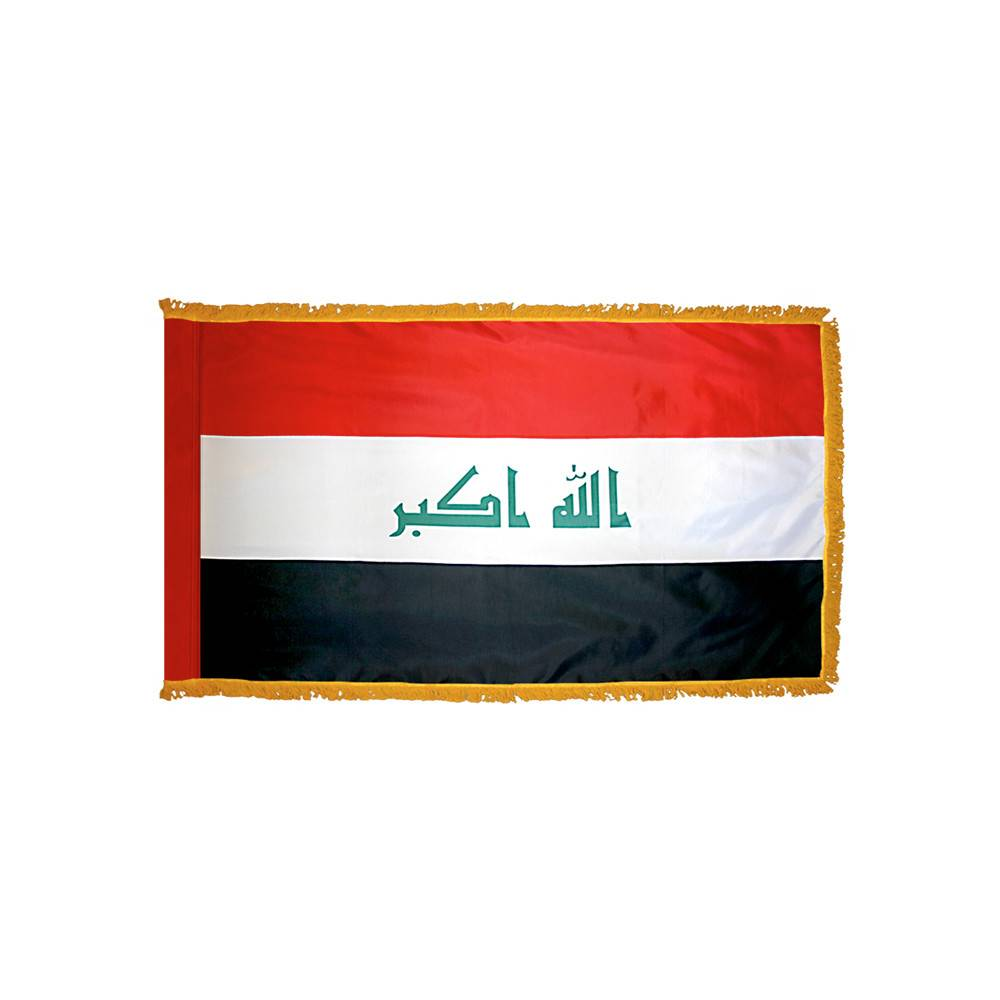 Iraq Flag with Polesleeve & Fringe