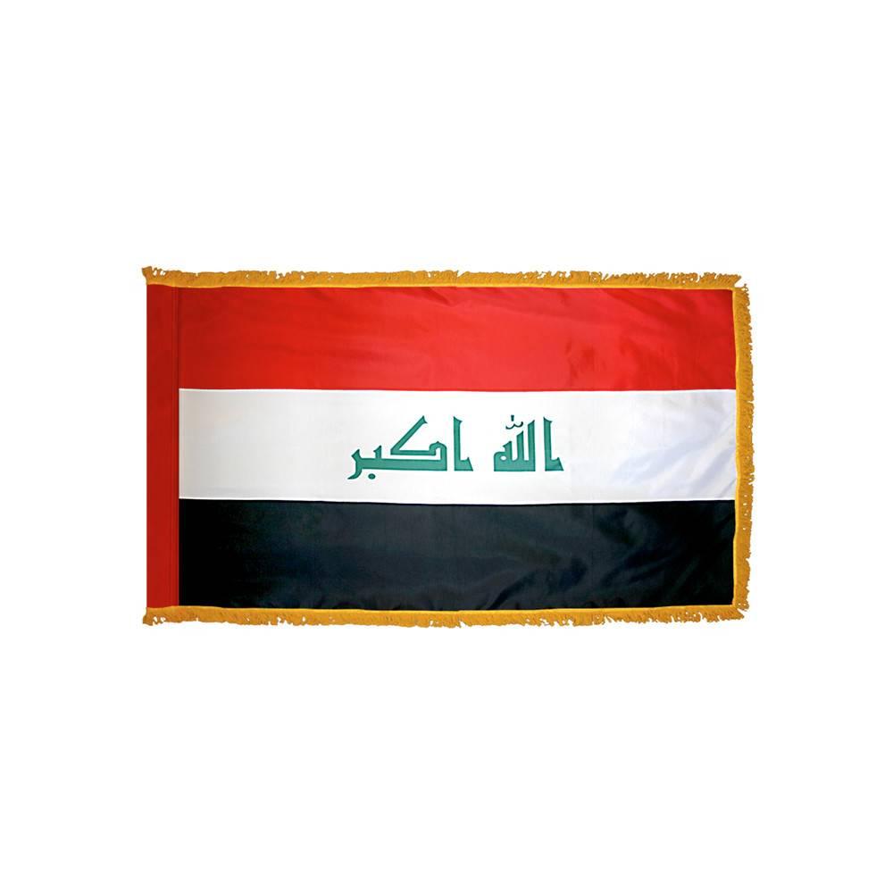 Iraq Flag with Polesleeve & Fringe