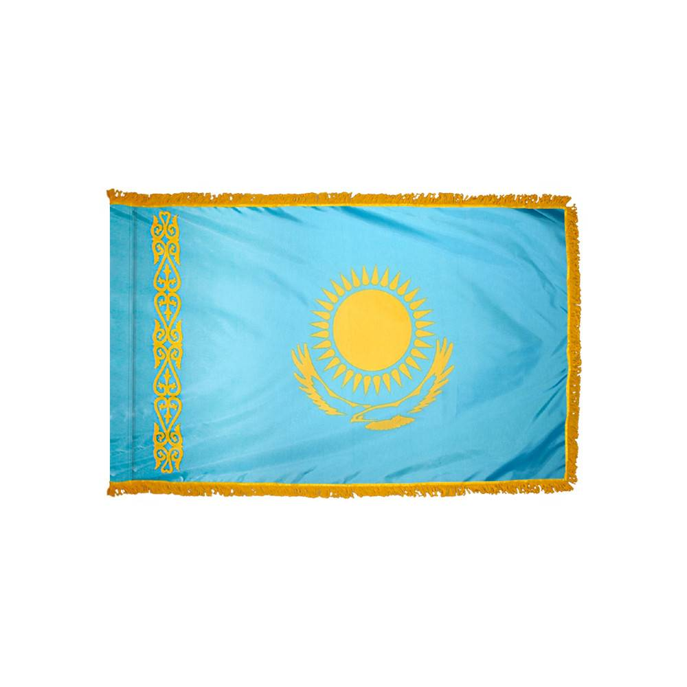 Kazakhstan Flag with Polesleeve & Fringe
