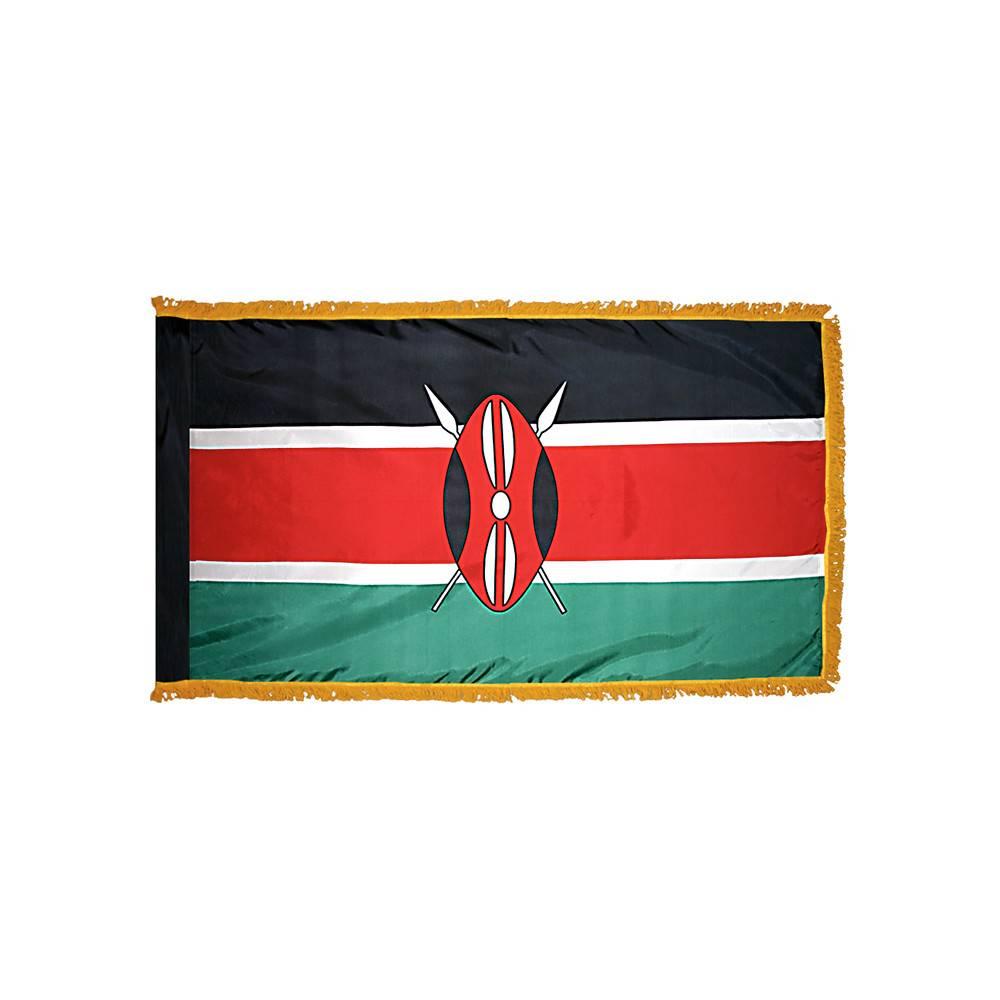 Kenya Flag with Polesleeve & Fringe