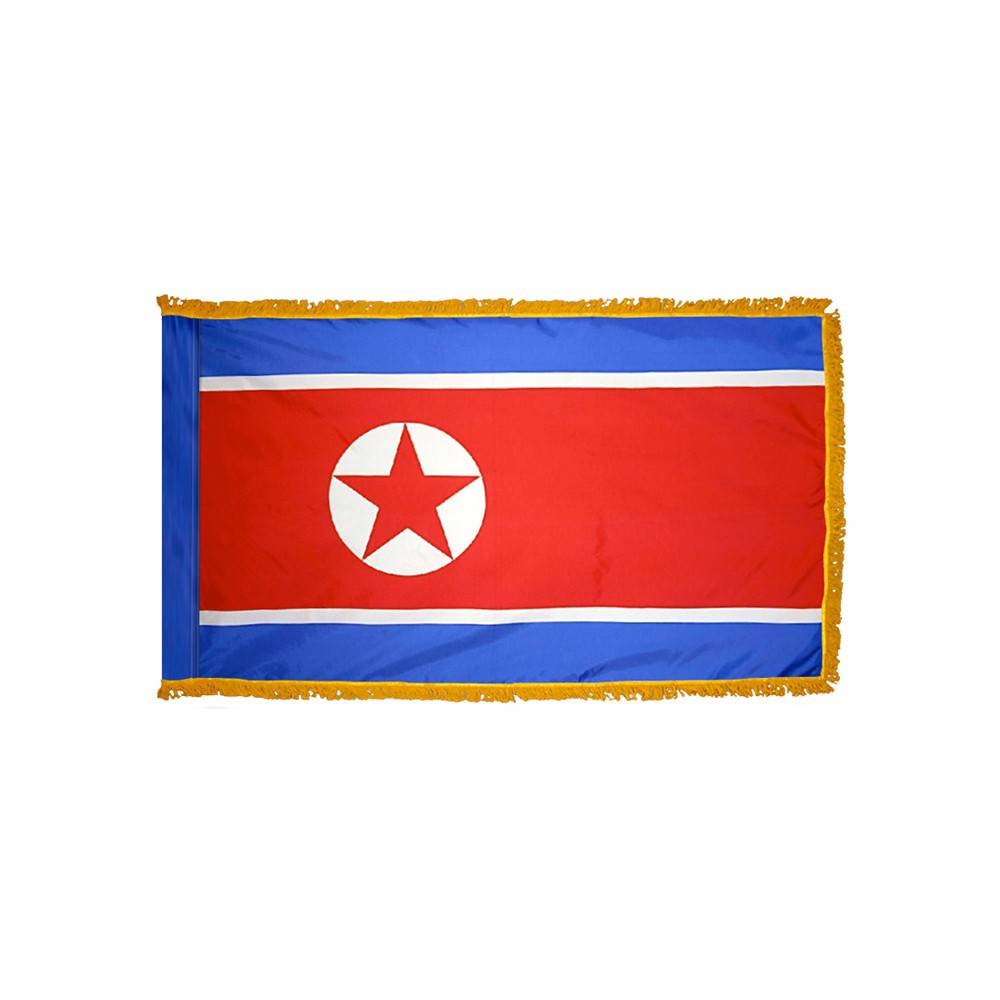 North Korea Flag with Polesleeve & Fringe