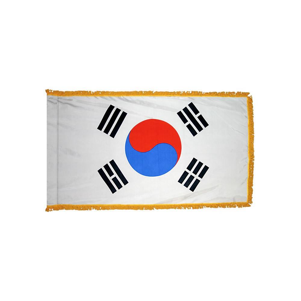 South Korea Flag with Polesleeve & Fringe