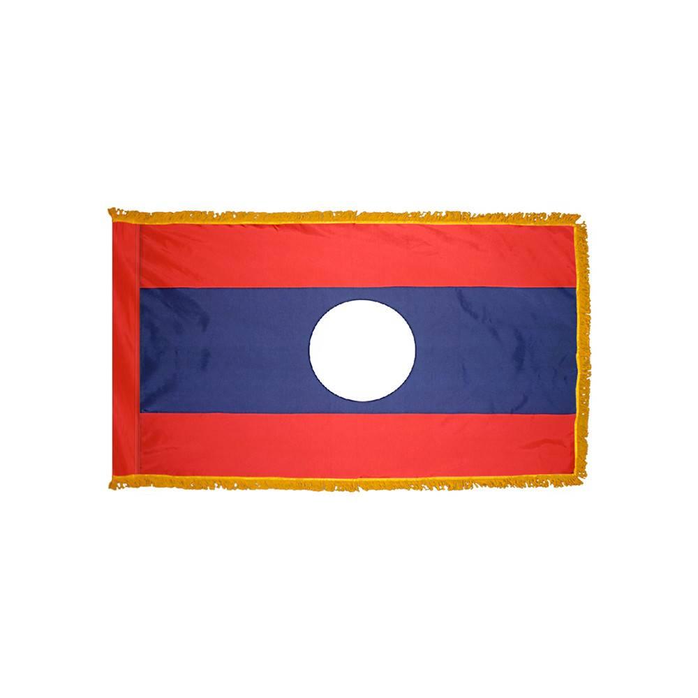 Laos Flag with Polesleeve & Fringe