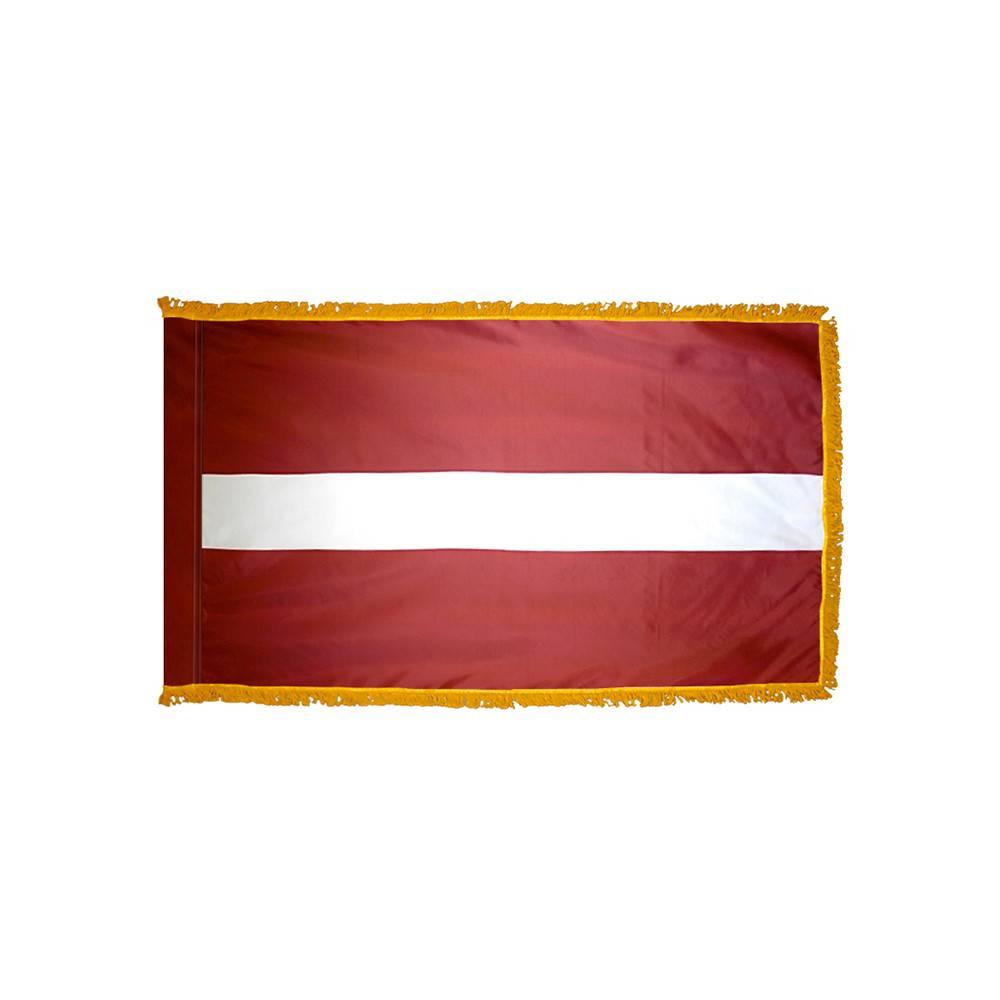 Latvia Flag with Polesleeve & Fringe