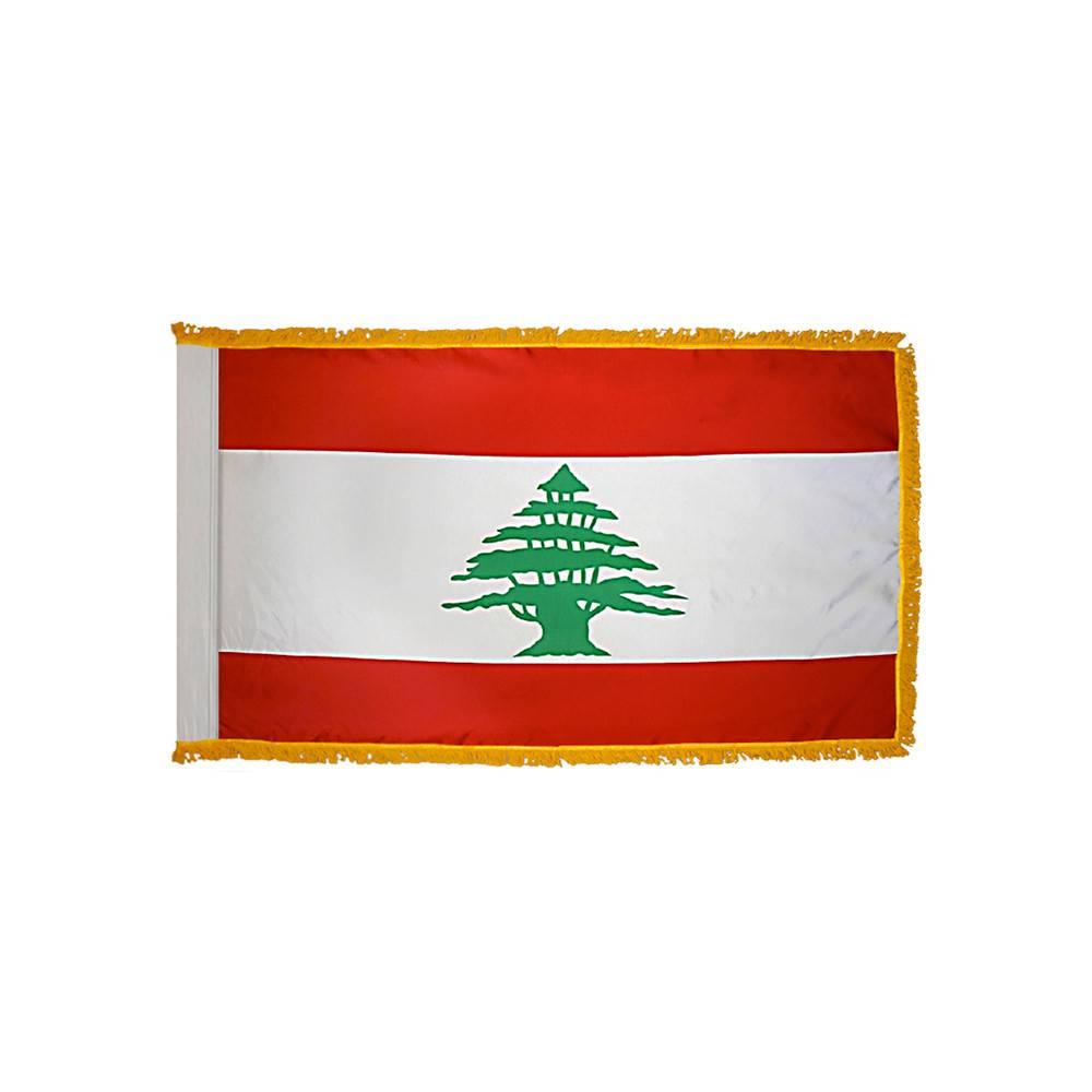 Lebanon Flag with Polesleeve & Fringe