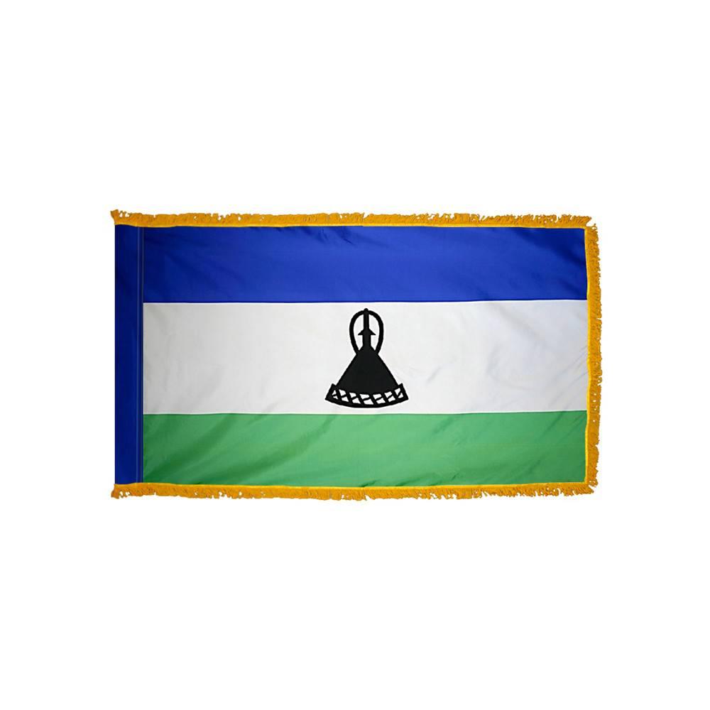 Lesotho Flag with Polesleeve & Fringe