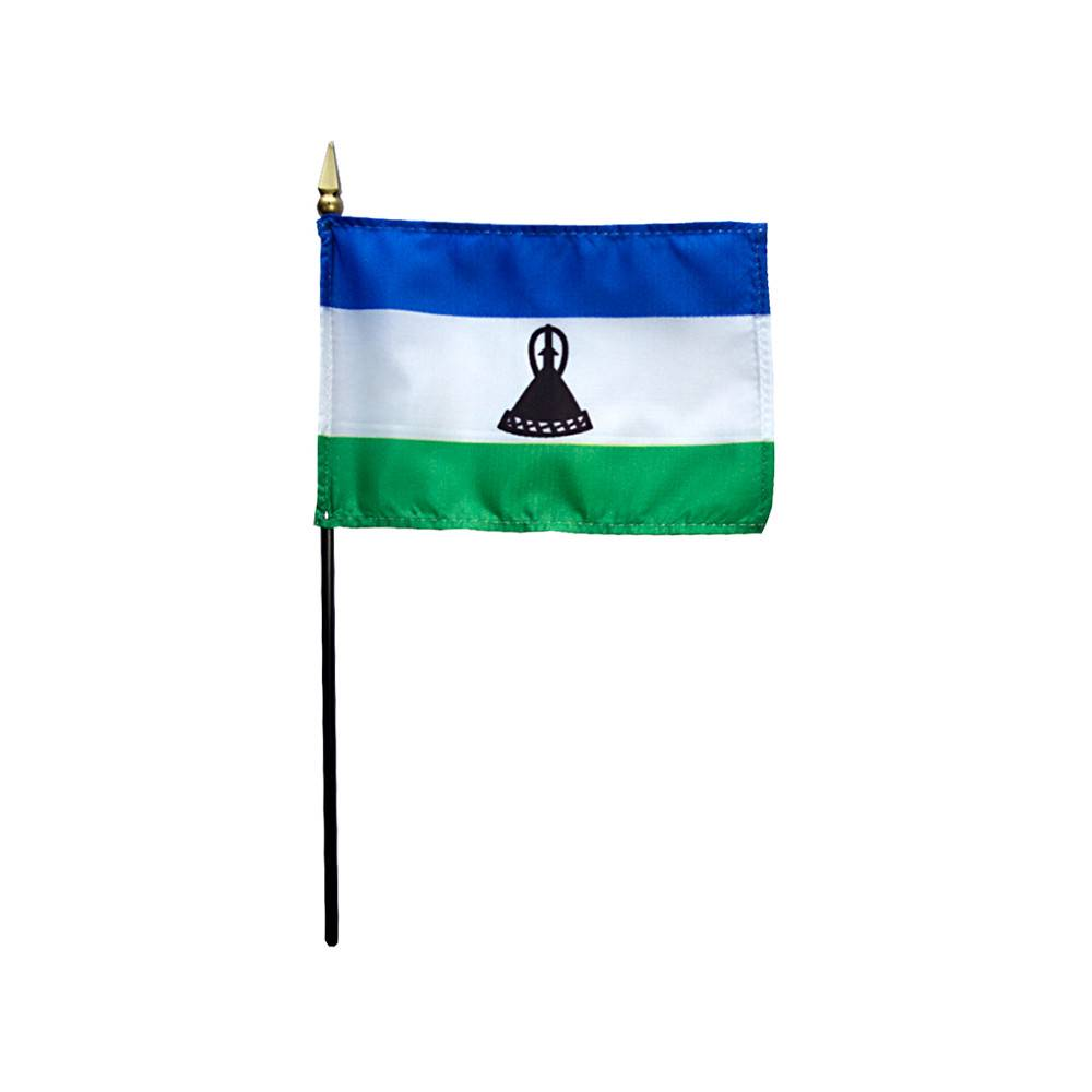 Lesotho Stick Flag 4x6 in