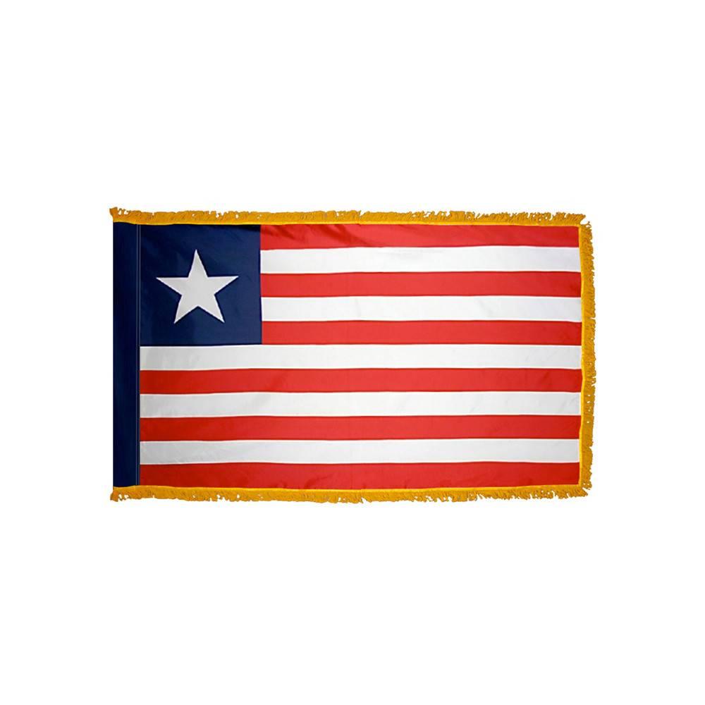 Liberia Flag with Polesleeve & Fringe