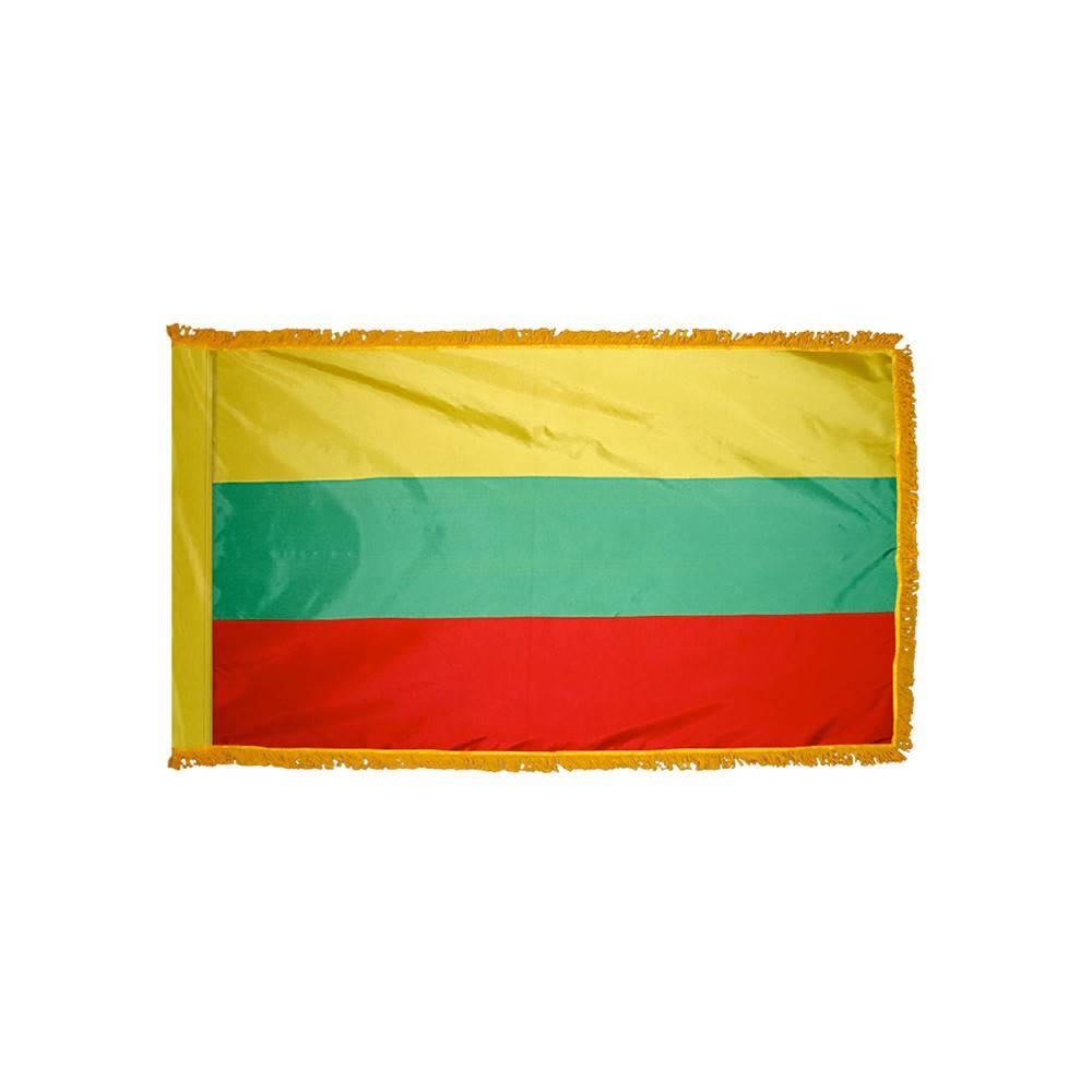 Lithuania Flag with Polesleeve & Fringe