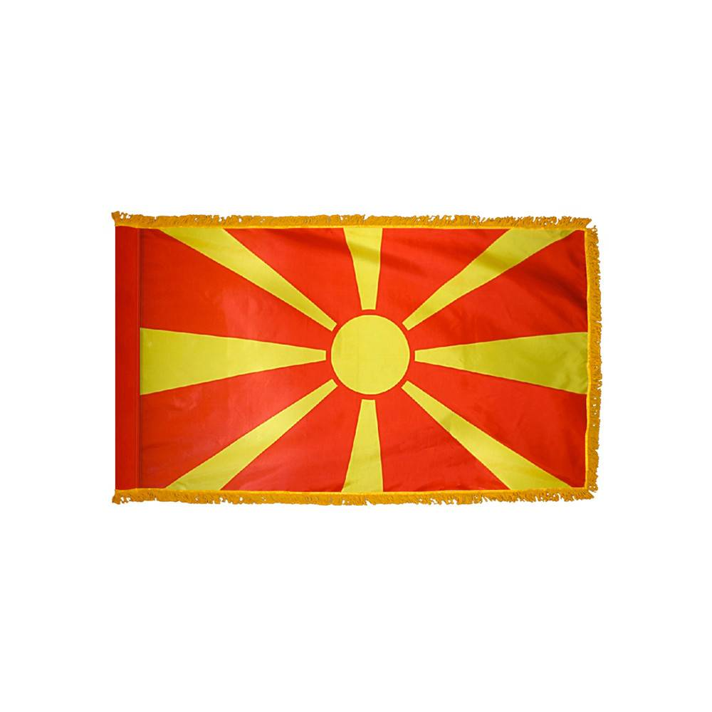 Macedonia Flag with Polesleeve & Fringe