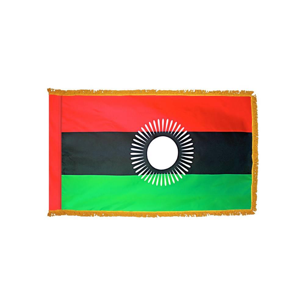 Malawi Flag with Polesleeve & Fringe