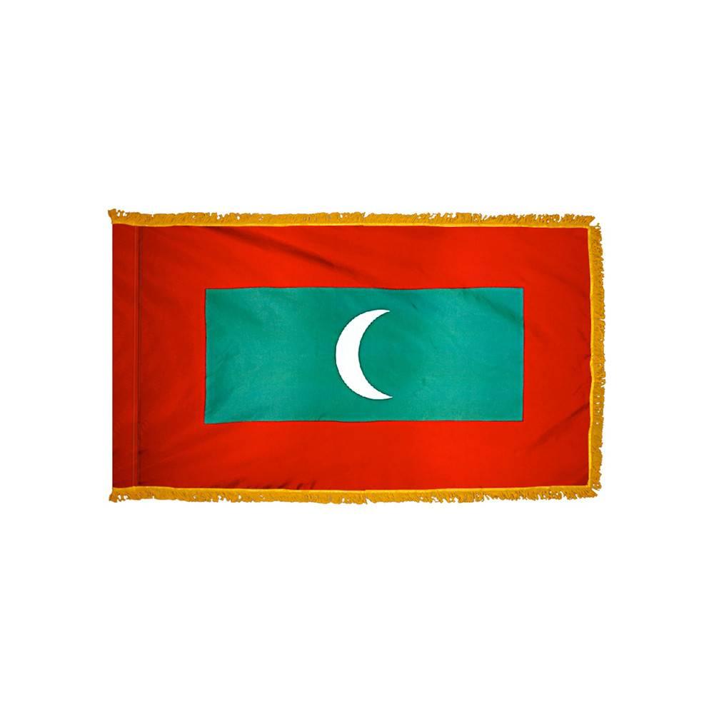 Maldives Flag with Polesleeve & Fringe