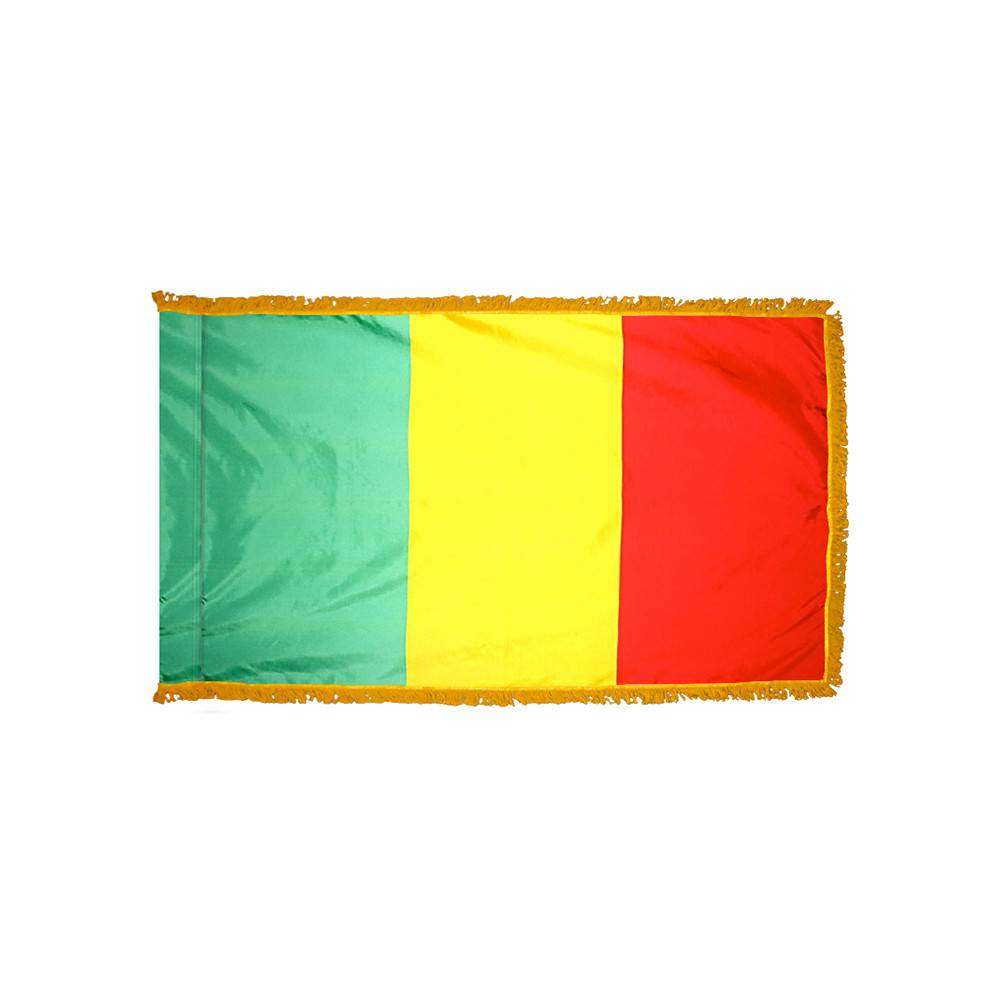 Mali Flag with Polesleeve & Fringe