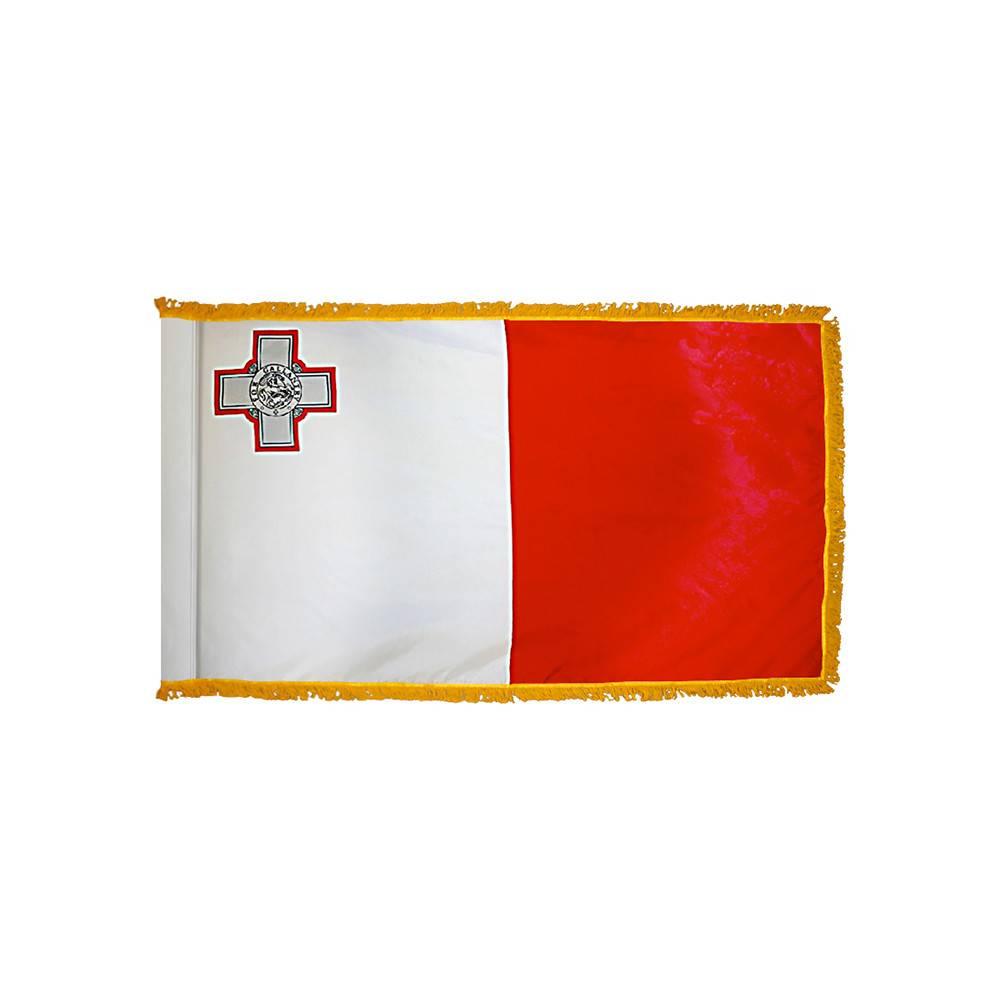 Malta Flag with Polesleeve & Fringe