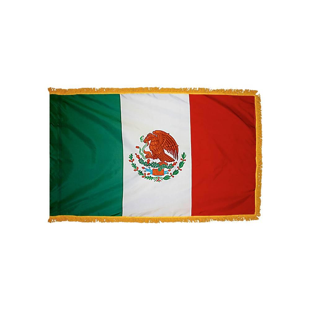 Mexico Flag with Polesleeve & Fringe