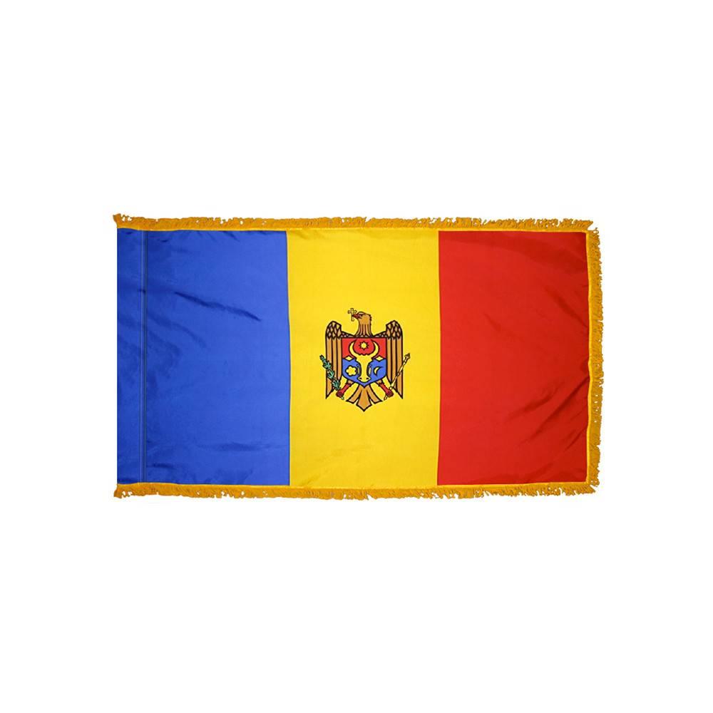 Moldova Flag with Polesleeve & Fringe