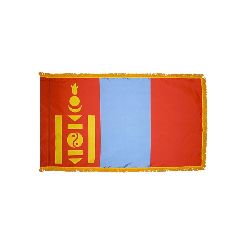 Mongolia Flag with Polesleeve & Fringe