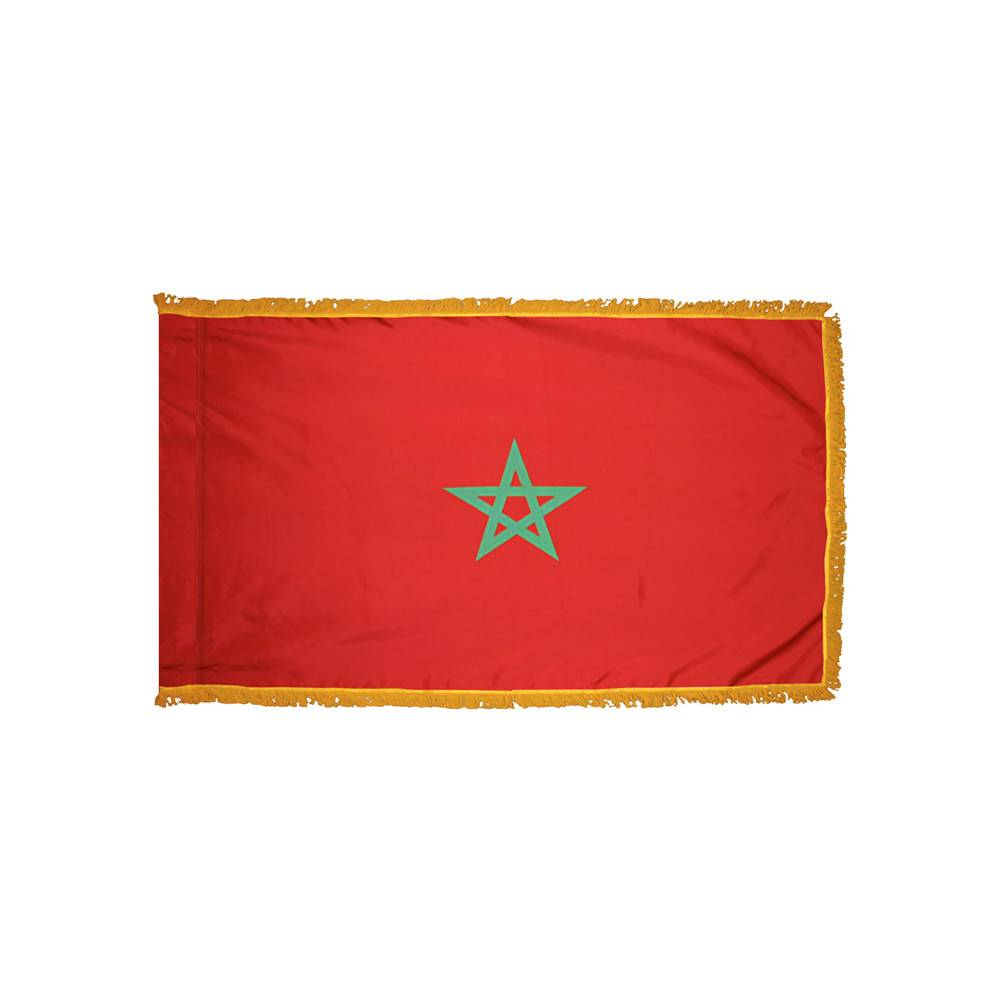 Morocco Flag with Polesleeve & Fringe