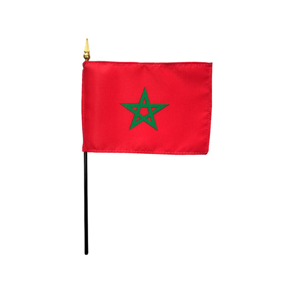 Morocco Stick Flag 4x6 in