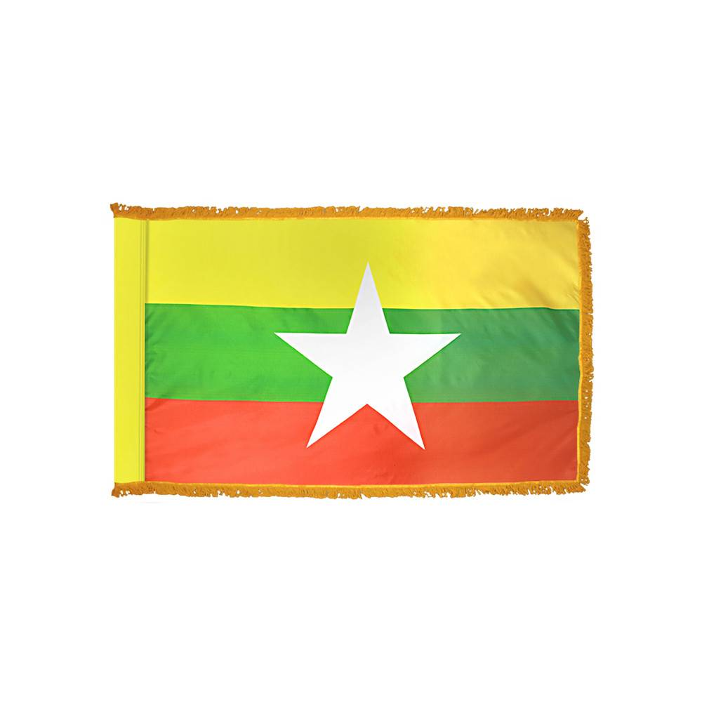 Myanmar Flag with Polesleeve & Fringe