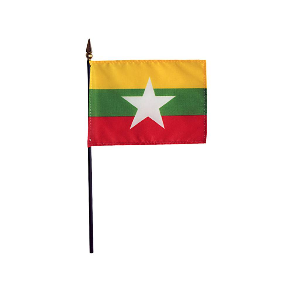 Myanmar Stick Flag 4x6 in