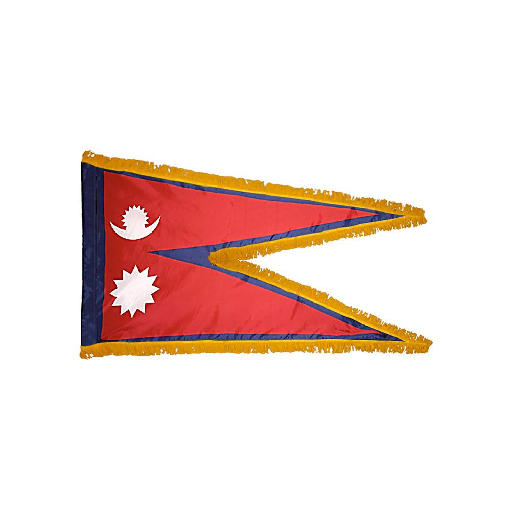 Nepal Flag with Polesleeve & Fringe
