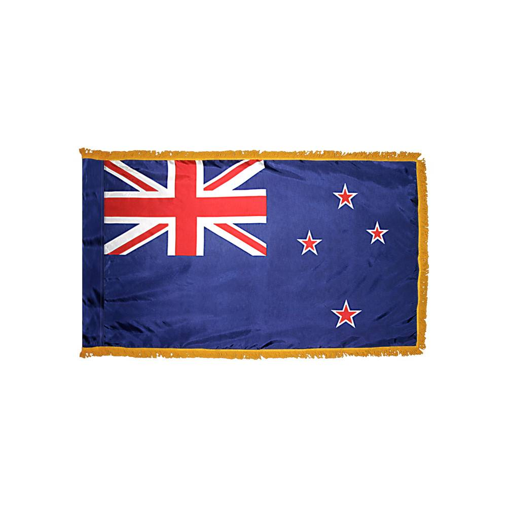 New Zealand Flag with Polesleeve & Fringe