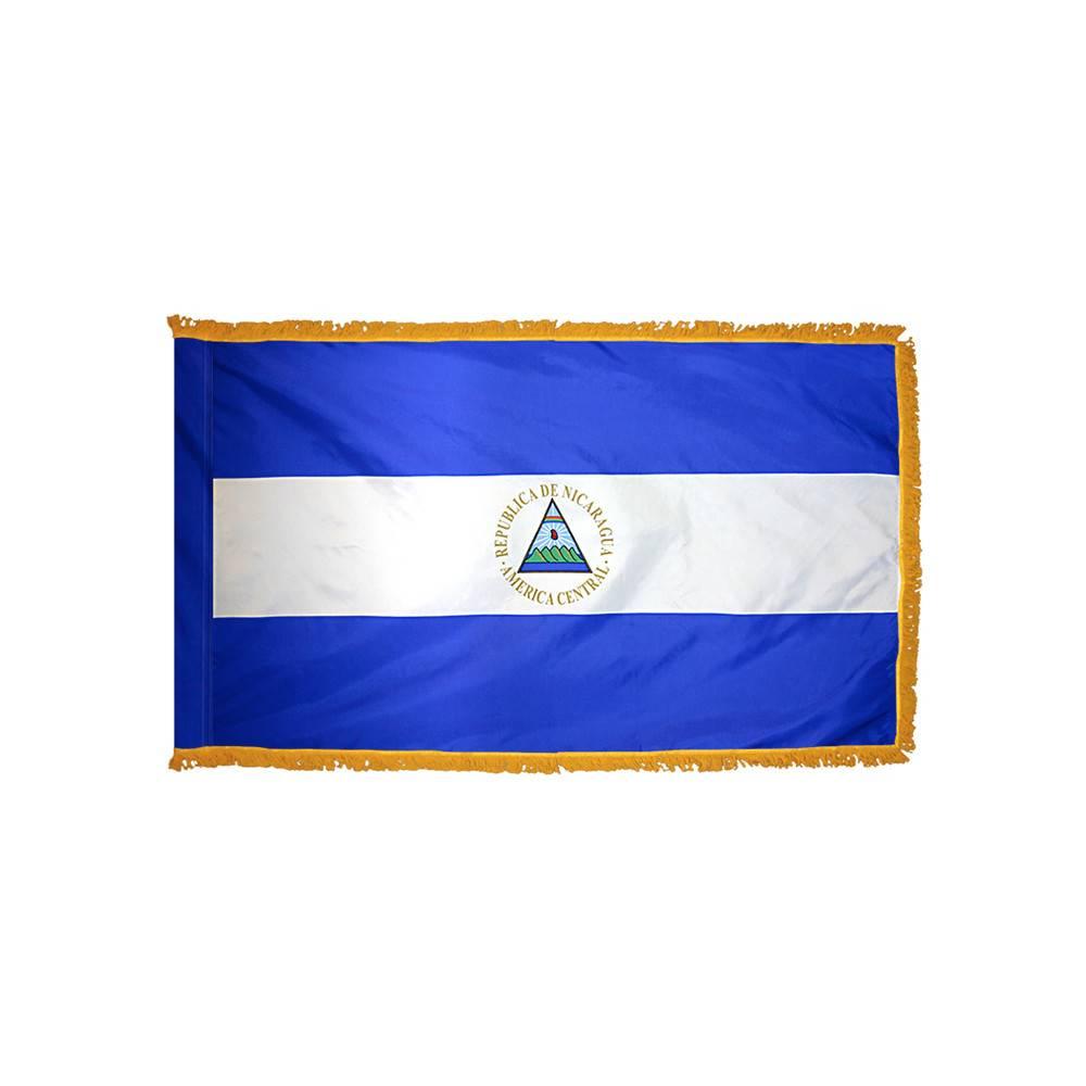 Nicaragua Flag with Polesleeve & Fringe
