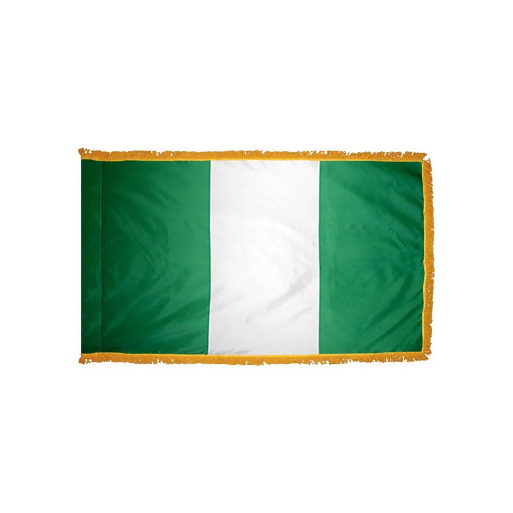 Nigeria Flag with Polesleeve & Fringe