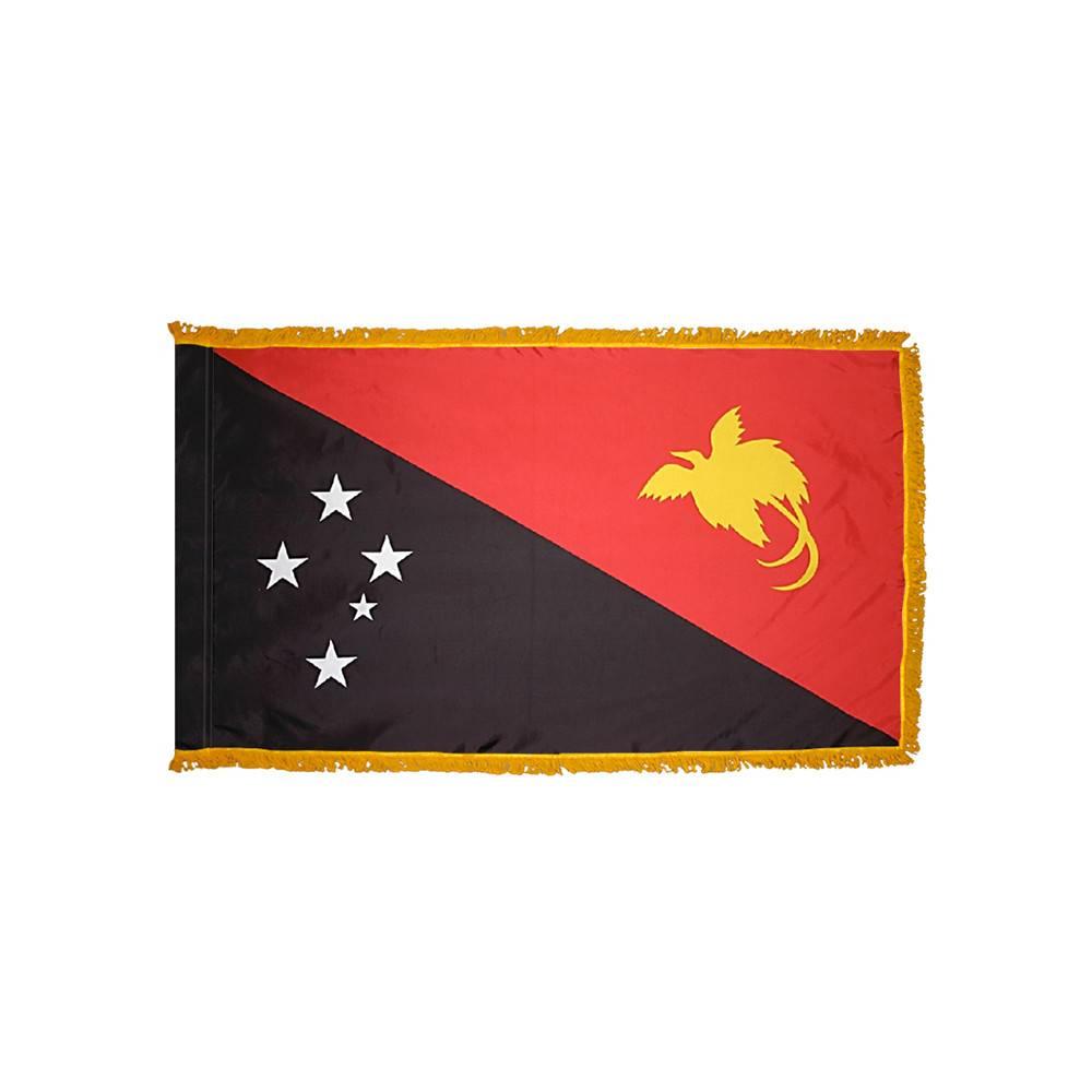 Papua New Guinea Flag with Polesleeve & Fringe