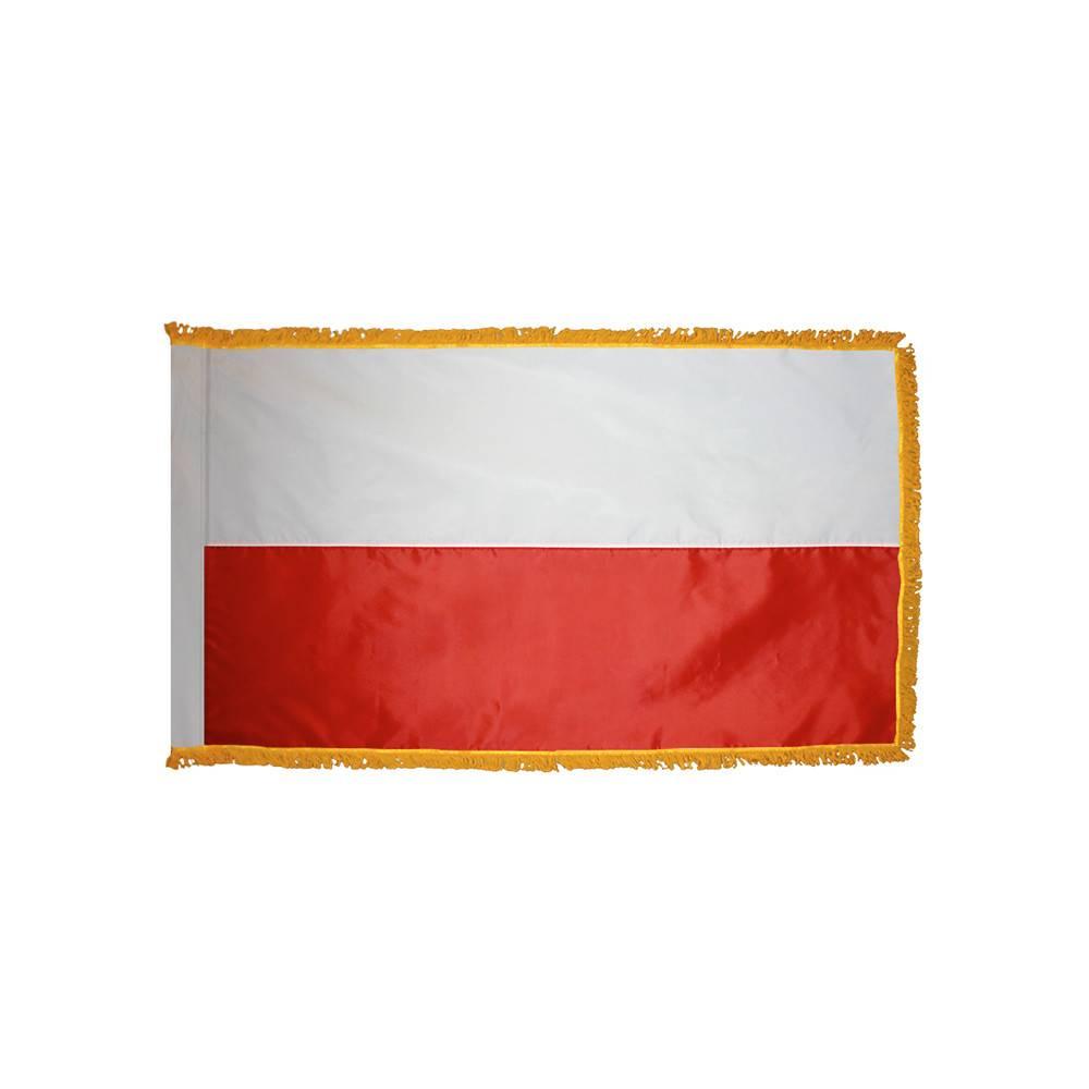 Poland Flag with Polesleeve & Fringe