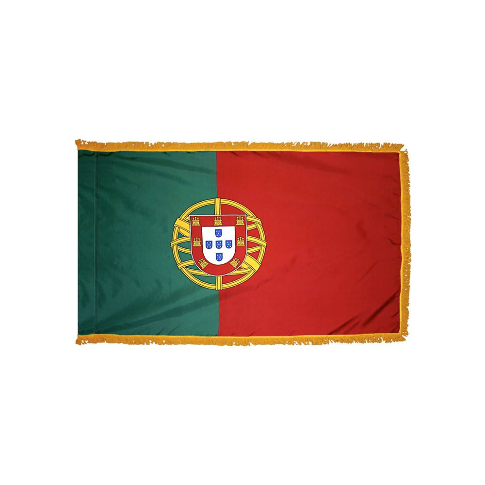 Portugal Flag with Polesleeve & Fringe
