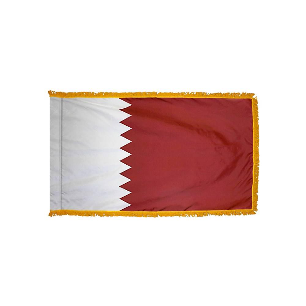 Qatar Flag with Polesleeve & Fringe