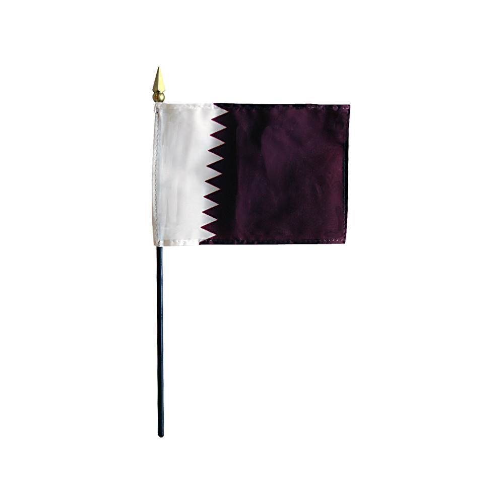 Qatar Stick Flag 4x6 in