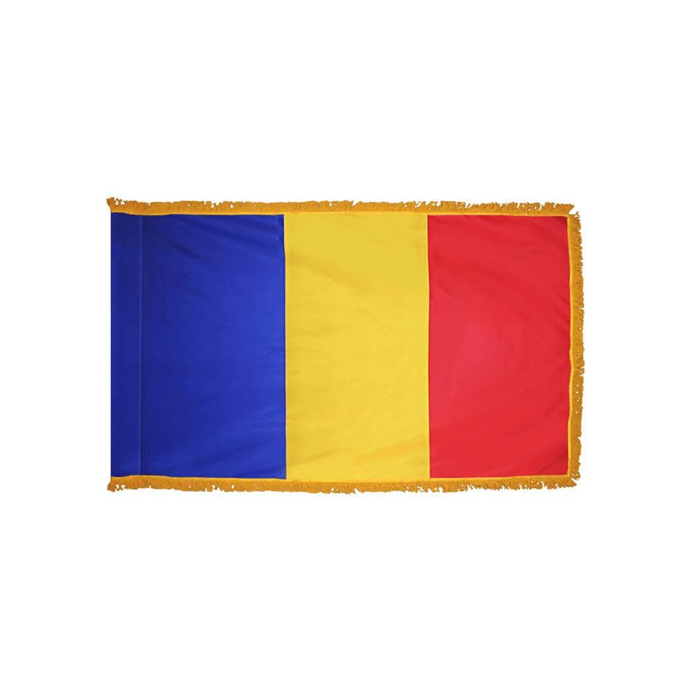Romania Flag with Polesleeve & Fringe
