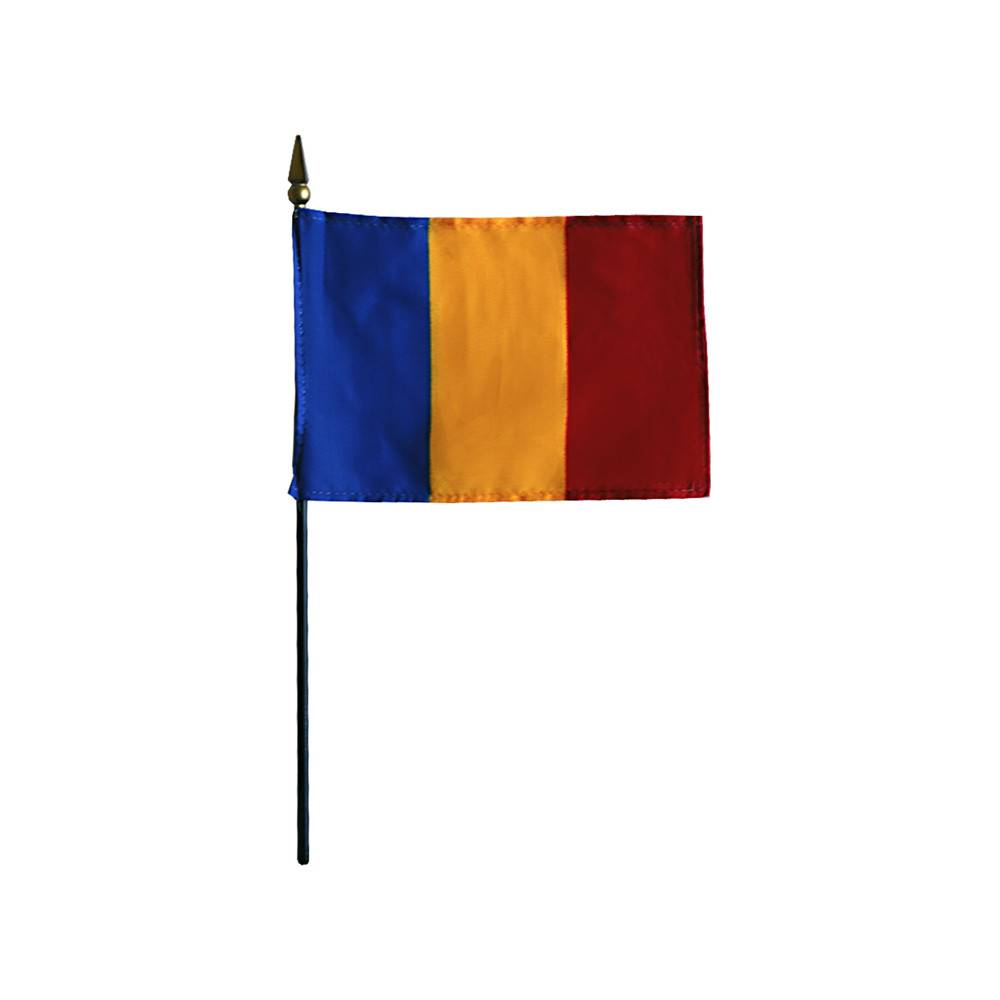 Romania Stick Flag 4x6 in