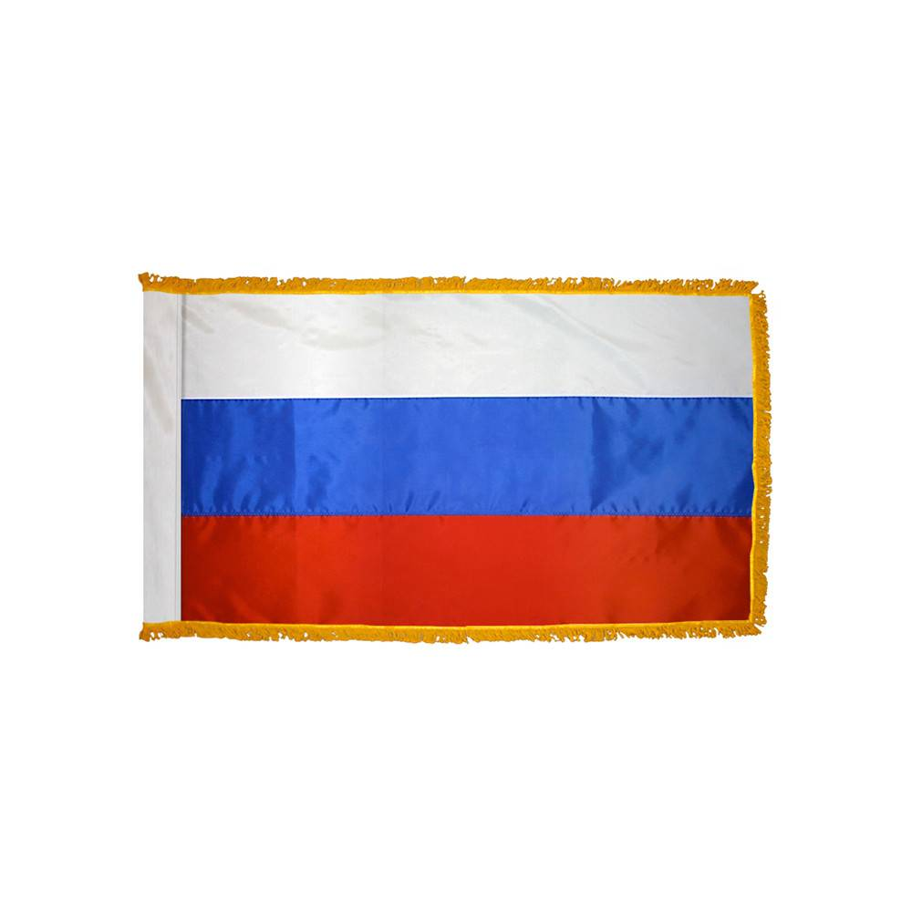Russia Flag with Polesleeve & Fringe