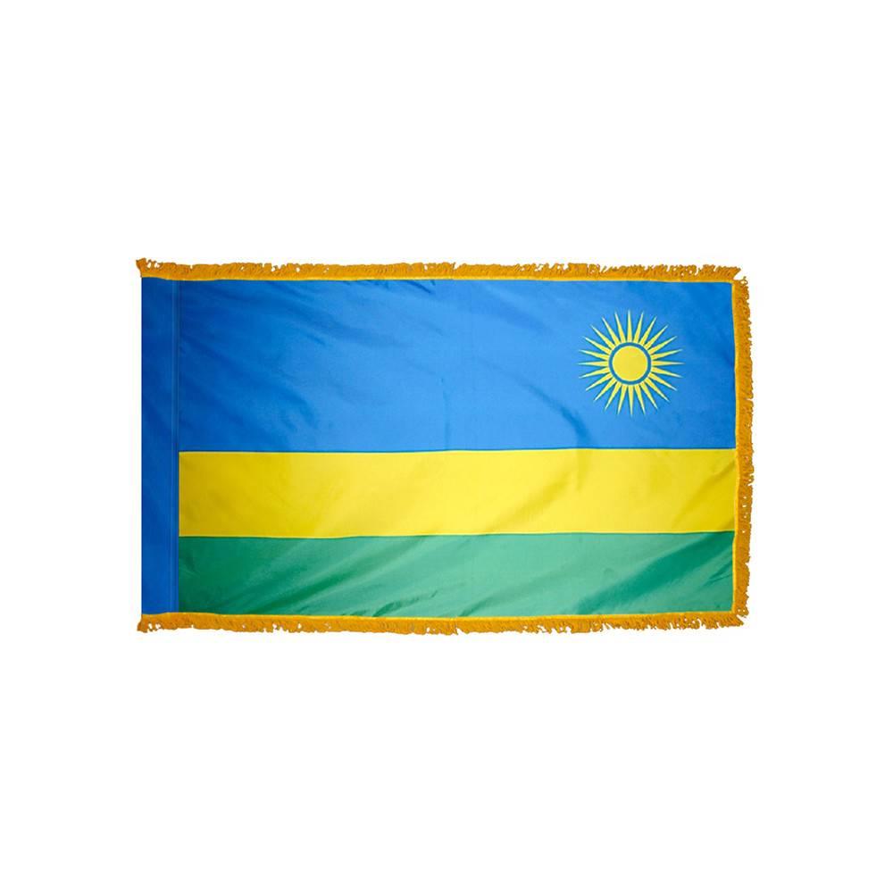 Rwanda Flag with Polesleeve & Fringe