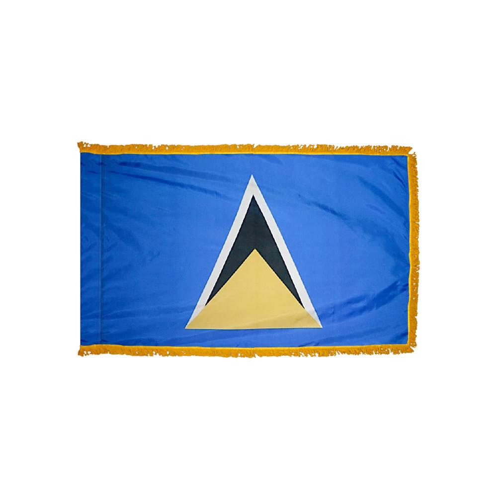 Saint Lucia Flag with Polesleeve & Fringe