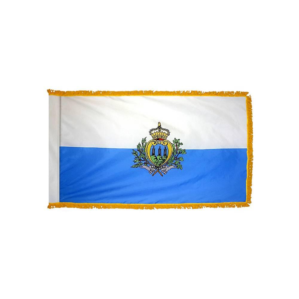 San Marino Flag with Polesleeve & Fringe