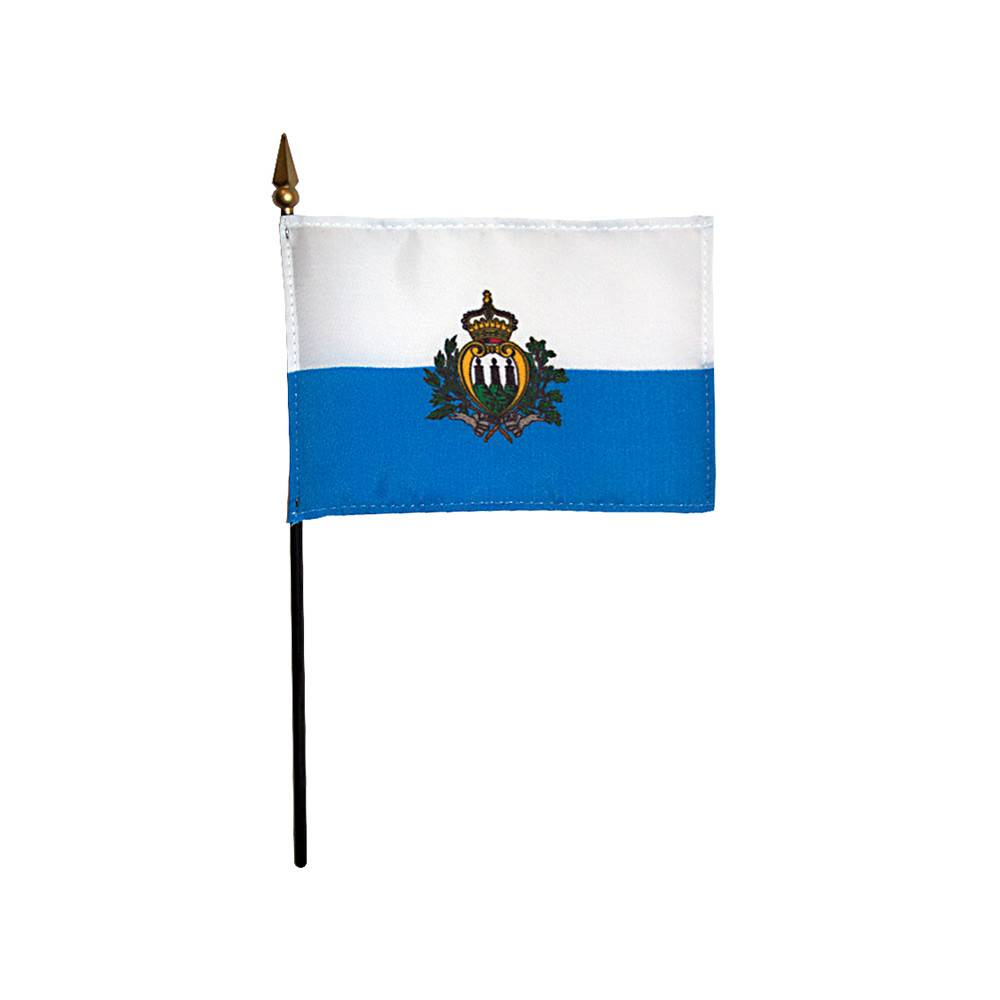 San Marino Stick Flag 4x6 in