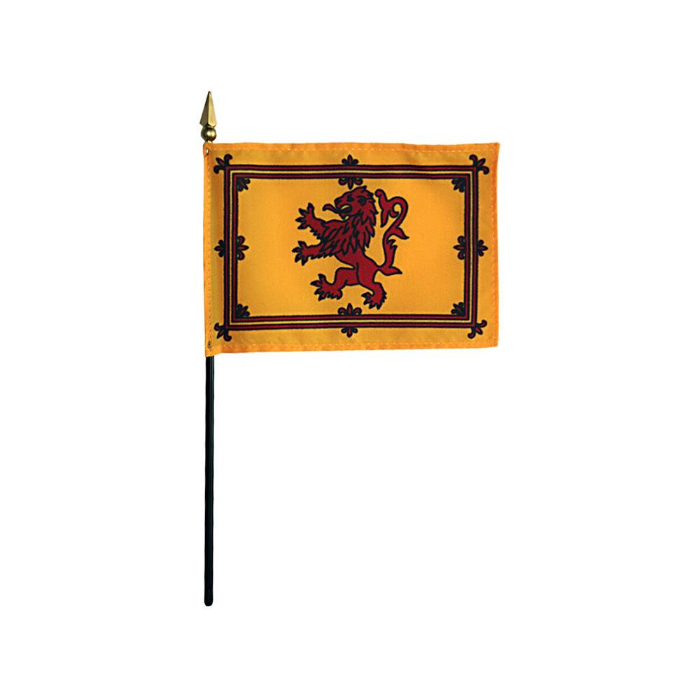 Scottish Rampant Lion Stick Flag 4x6 in