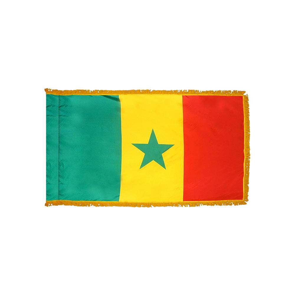 Senegal Flag with Polesleeve & Fringe